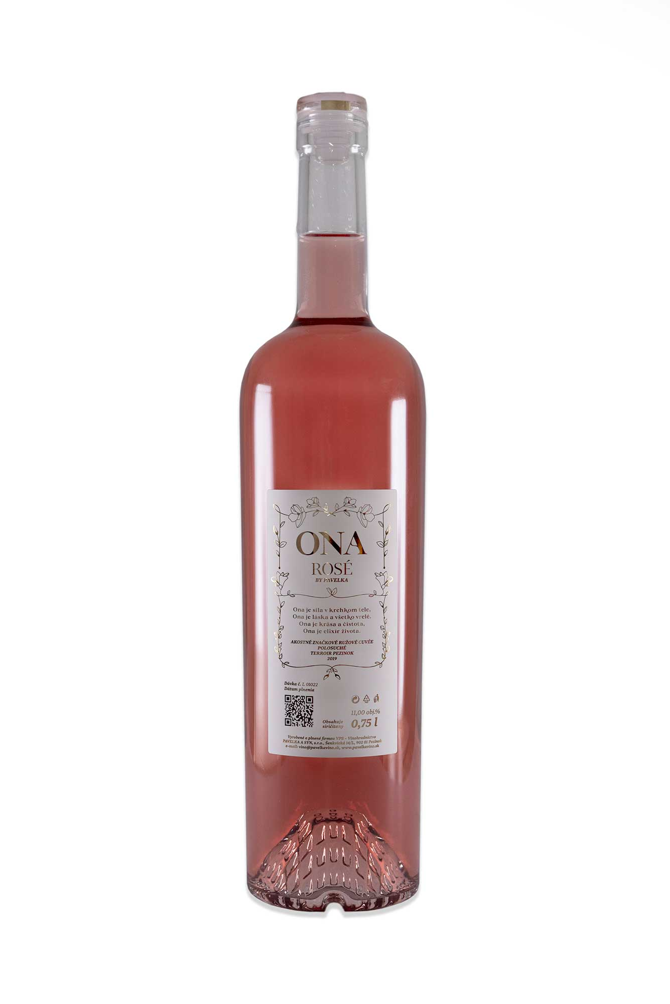 ružové víno ONA by Pavelka zadná etiketa